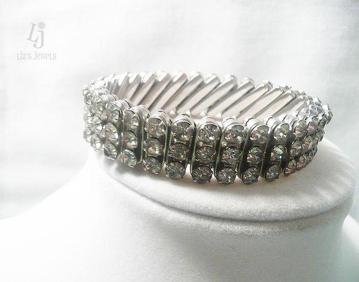 Vintage 1940's Silver Tone Rhinestone BRITISH Hong Kong Stretch Bracelet by JollieSweets on Etsy