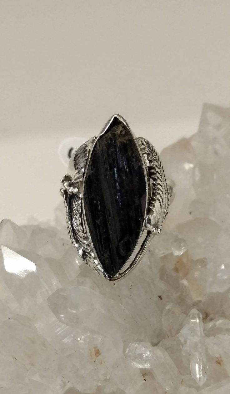 Huge Rough Black Tourmaline Ring, Size 6 1/2 by KarinsForgottenTreas on Etsy