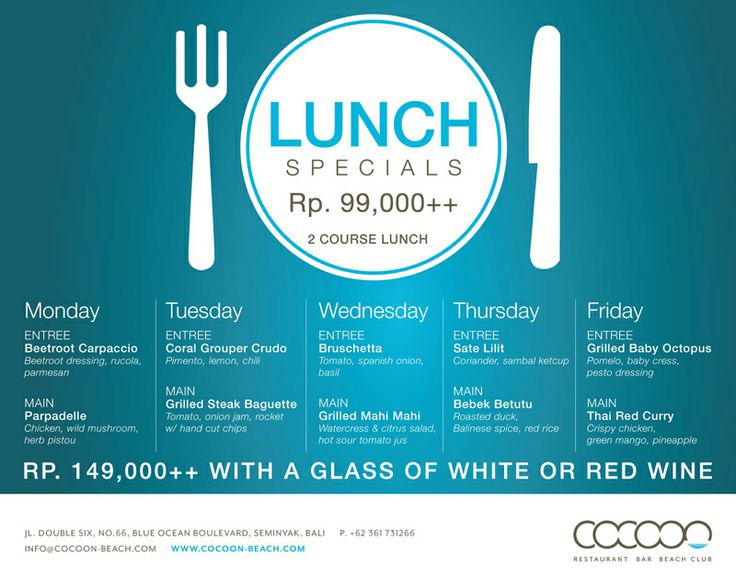 Lunch Specials Monday to Friday at Cocoon xx For details : http://on.fb.me/1cnLbyF