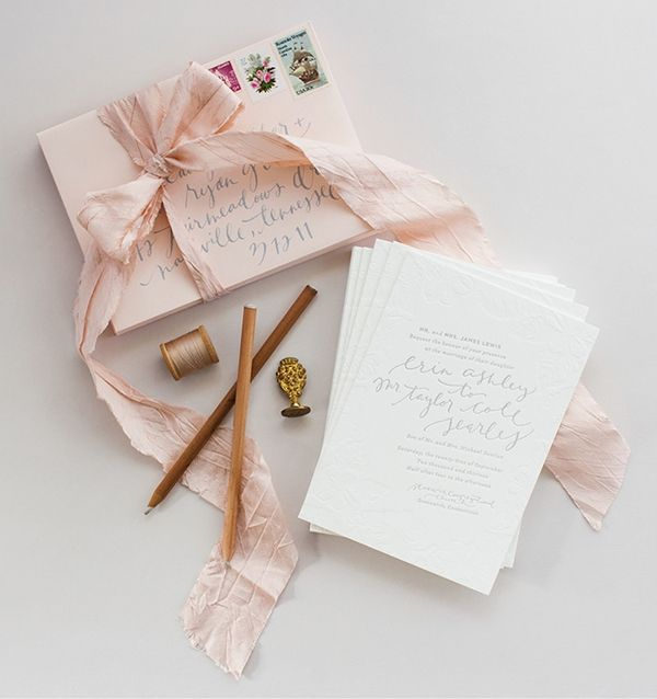 Romantic Elegant Blush and Gray Wedding Invitations by Coral Pheasant with Calligraphy by Brown Linen Design via Oh So Beautiful Paper