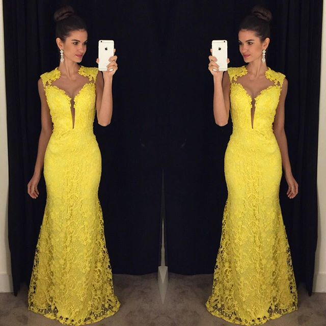 Prom Dresses, Prom Gown,Yellow Prom Dress,Lace Prom Dress,Mermaid Prom dress,Formal Dress,Evening Dress RT0065