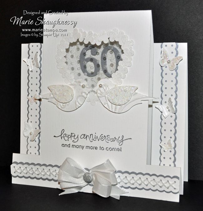 Lovely Card Making Ideas For 60th Anniversary Part - 9: LOVE BIRDS 60th ANNIVERSARY CARD.