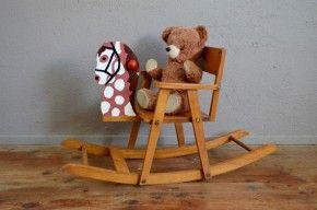 Cheval à bascule ancien vintage rétro années 50 antic rocking horse midcentury kid toy gripoil jeux en bois