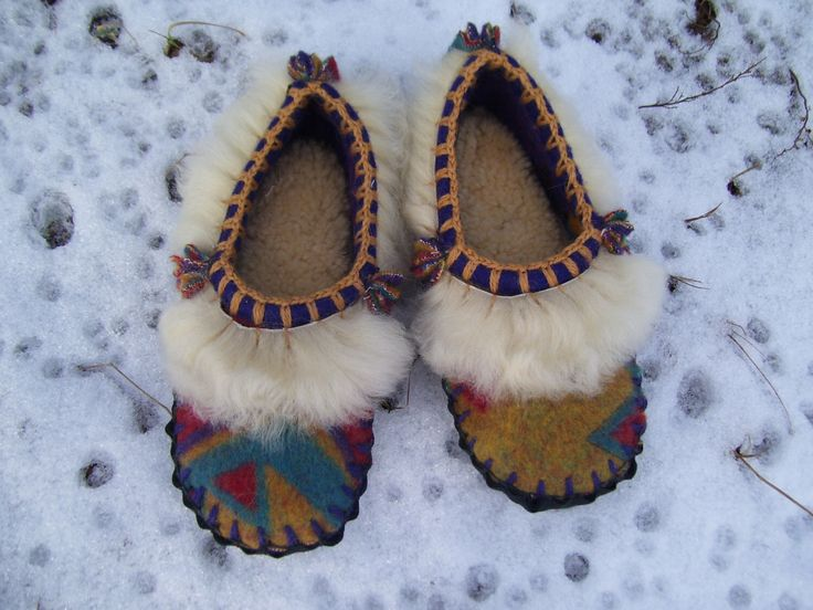 Scuffs -  A Three Sheep Night - Felted Thick Blanket Wool / Sheepskin & Leather Soles Moccasins / Slippers - Women's or Men's Sizes by baabaabaxsheep on Etsy https://www.etsy.com/listing/120289002/scuffs-a-three-sheep-night-felted-thick