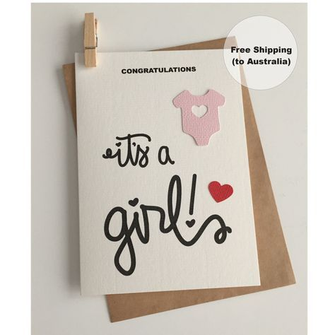 It's a Girl Card – Congratulations Baby Girl Card – Baby Girl Card – Onesie Girl Card – New Baby Girl Card by SweetCCDesign on Etsy https://www.etsy.com/au/listing/499549554/its-a-girl-card-congratulations-baby