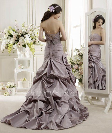 Charming Trumpet/Mermaid Sweetheart Crystal Detailing Ruching Sweep/Brush Train Taffeta Wedding Dresses