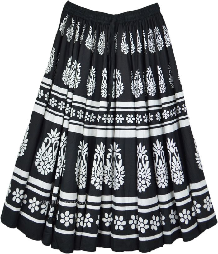 Black and White Boho Gypsy Skirts for Women Long Maxi Hippie Monochrome Floral Paisley Pattern Tiered Cotton