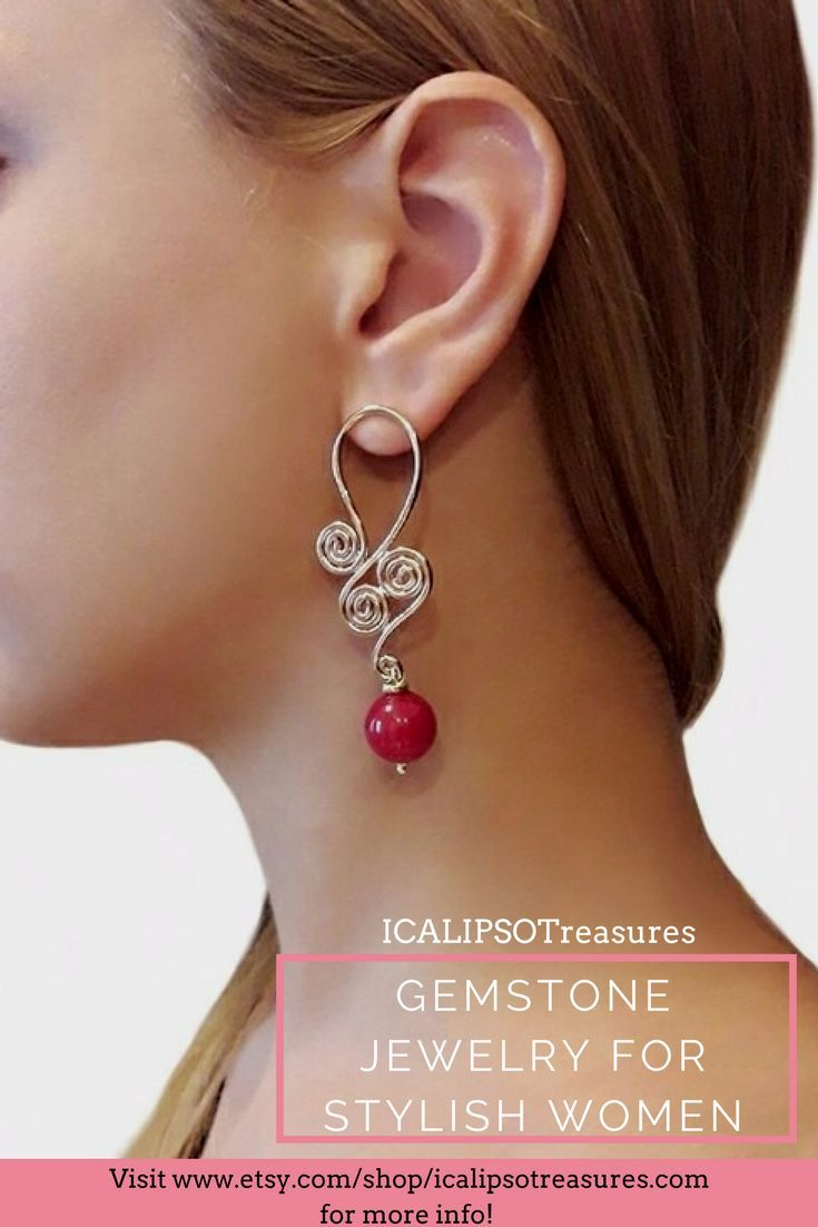 Red earrings in ruby root, these rose gold earrings are perfect as jewelry gift for girlfriend or Christmas gift for wife. These wire statement earrings will fit the most sensitive ears. Visit the shop to see more.