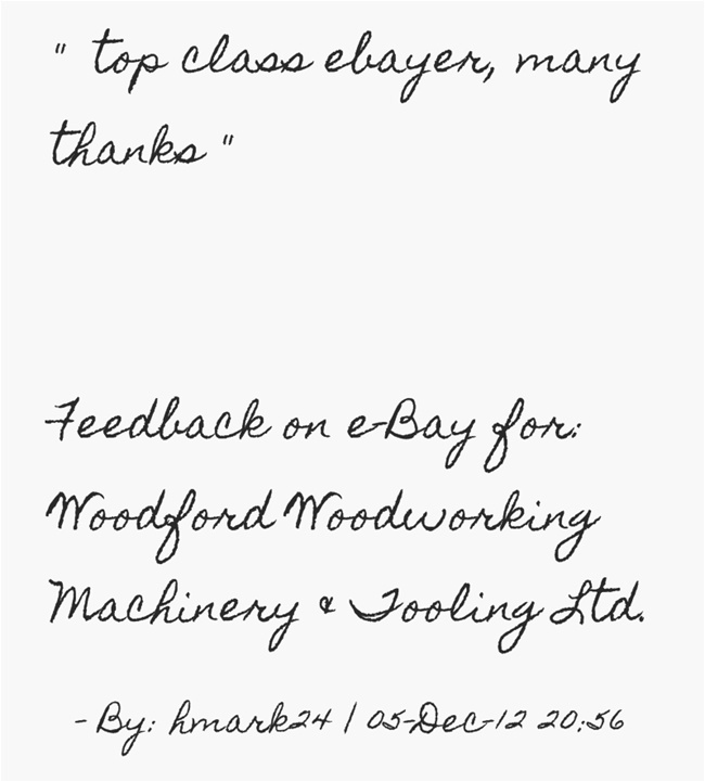 top class ebayer, many thanks. ~hmark24   Feedback for woodfordtooli ...