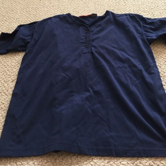 Navy blue short sleeve top. Size Large Navy blue short sleeve top. Size Large. Minimally worn and still in great condition Tops