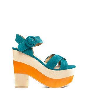 Image 1 - Shelly's London - Sandales color block à talons - Turquoise/Orange