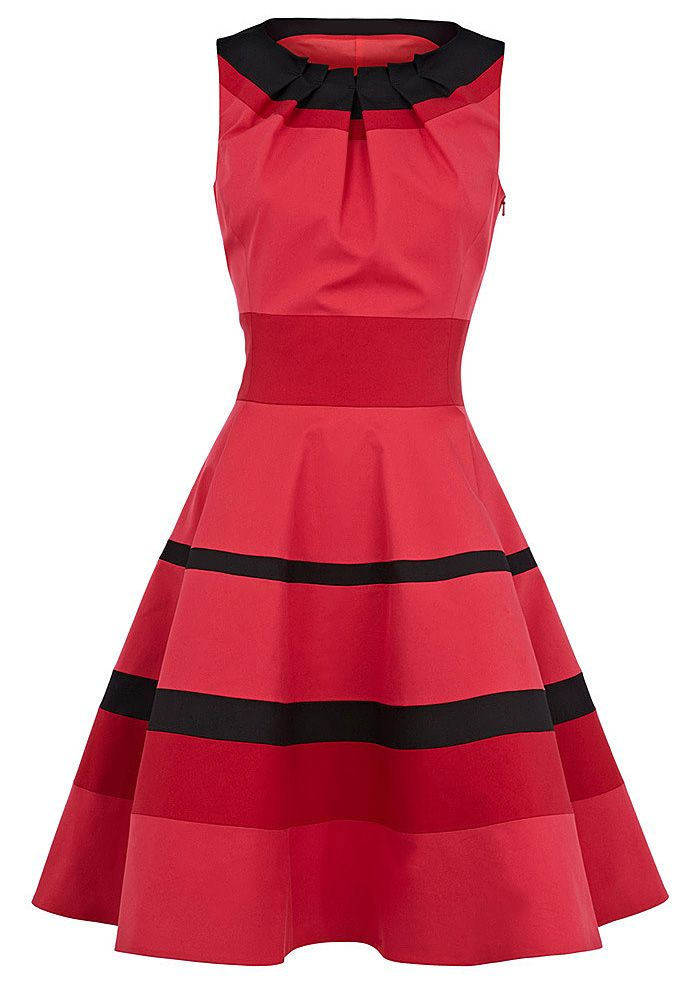 Women's Graceful Stripe Narrow Waist Flouncing Pleated Sleeveless Dress, Vintage Dresses   DressLily.com