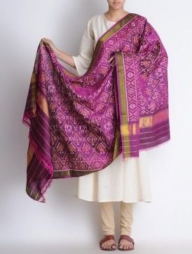 Magenta Silk Single Ikat Patan Patola Silk Dupatta