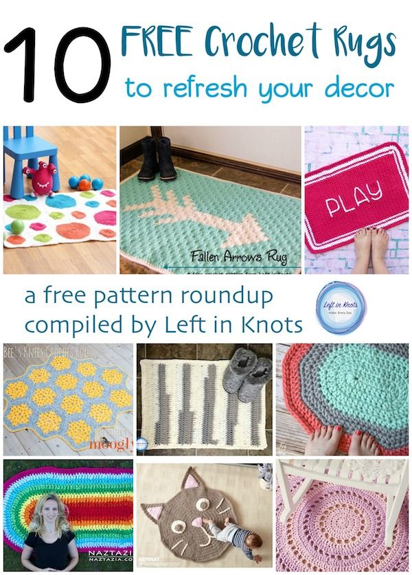 Spring is a great time to think about updating your decor! Start by making a few new rugs with these 10 FREE crochet patterns. A pattern roundup compiled by Left in Knots