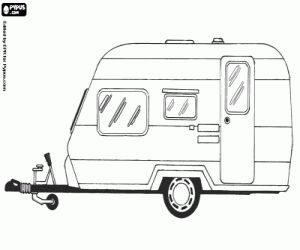 Malvorlagen Wohnwagen oder Wohnmobil. Mobil-Home, geschlossene Anhänger, der von einem anderen Fahrzeug abgerissen ist Ausmalbilder zum ausdrucken