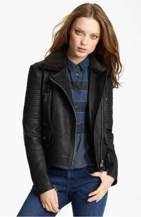 Main Image - Burberry Brit Lambskin Leather Jacket