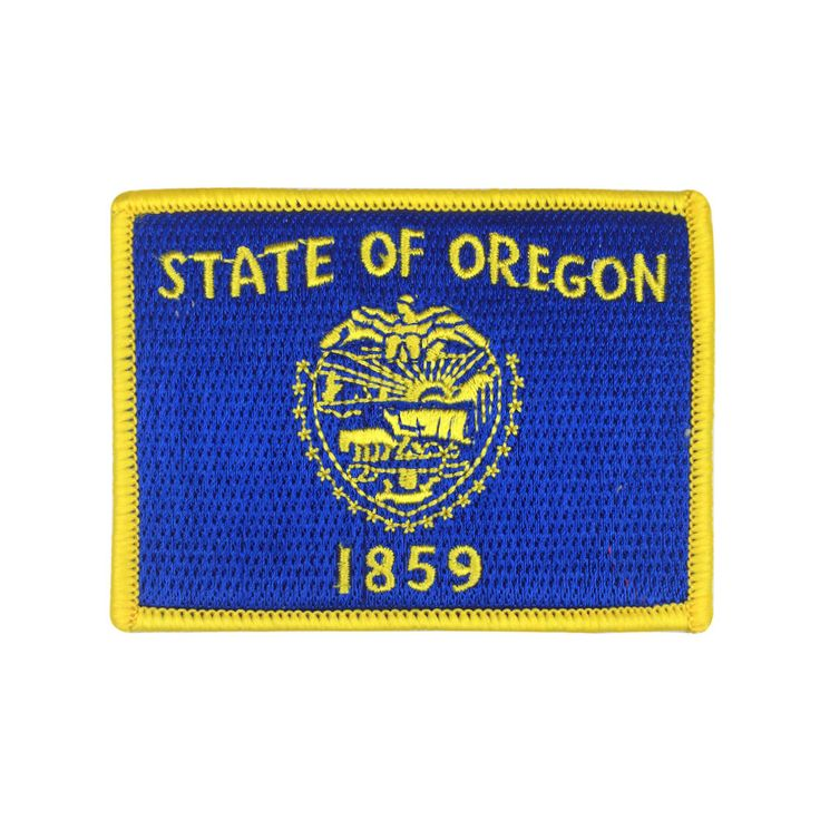 State of Oregon Flag Patch US Embroidered Patch Gold Border Iron On patch Sew on Patch badge Patch meet you on www.Fleckenworld.com