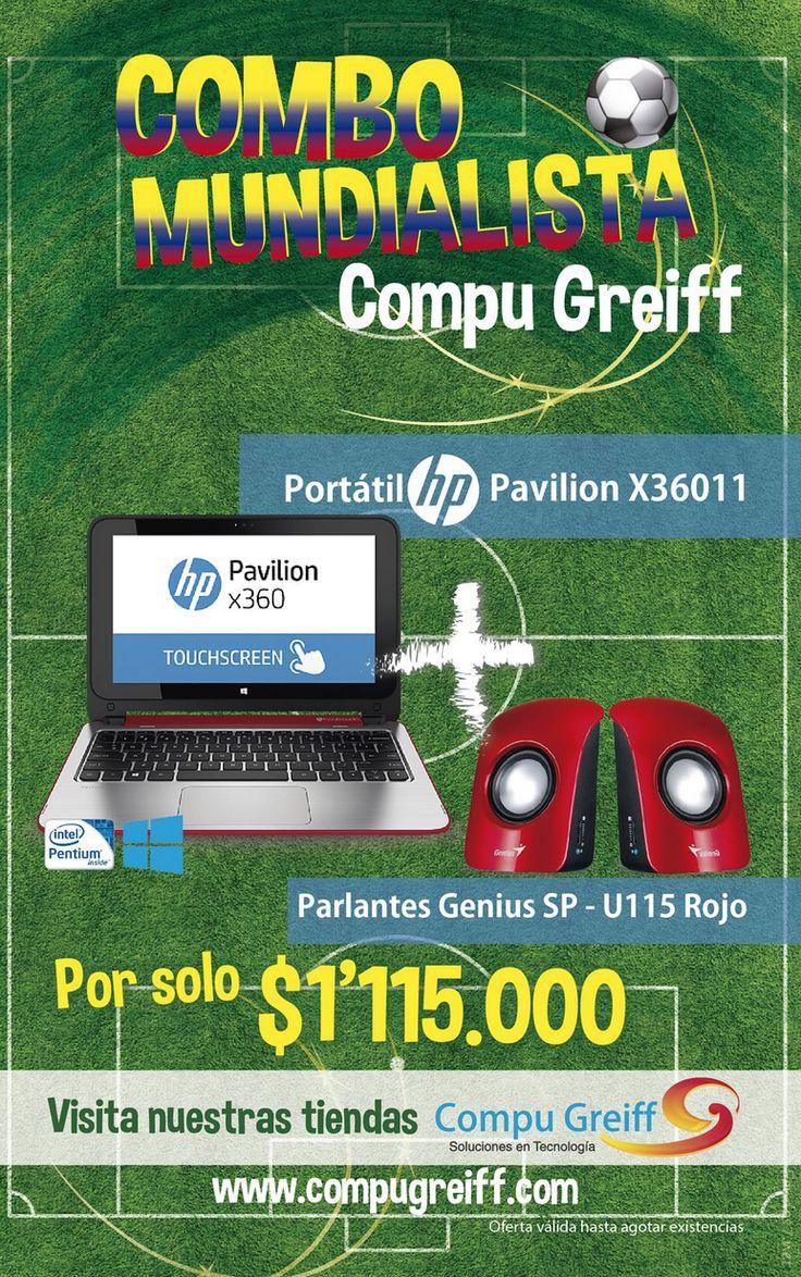 #ComboMundialistaCompuGreiff Portátil HP Pavilion X36011 + Parlantes Genius SP U115 Rojo por solo $1'115.000 . El regalo perfecto para que Papá no se pierda el Mundial  #FelizDíaPapa #PapáGeek #Portatiles