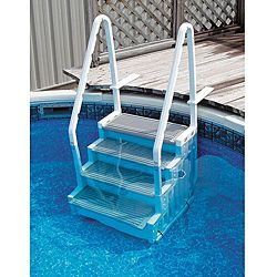 """The Ocean Blue In-Pool Ladder fits decks 42"""" to 56"""" high. Installation is easy. The Ocean Blue In-Pool Ladder requires minimal hardware and the ladder fills with water, so you dont need to hassle with"""