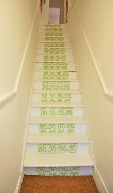 Wallpapered stair risers - wallpaper by Isak