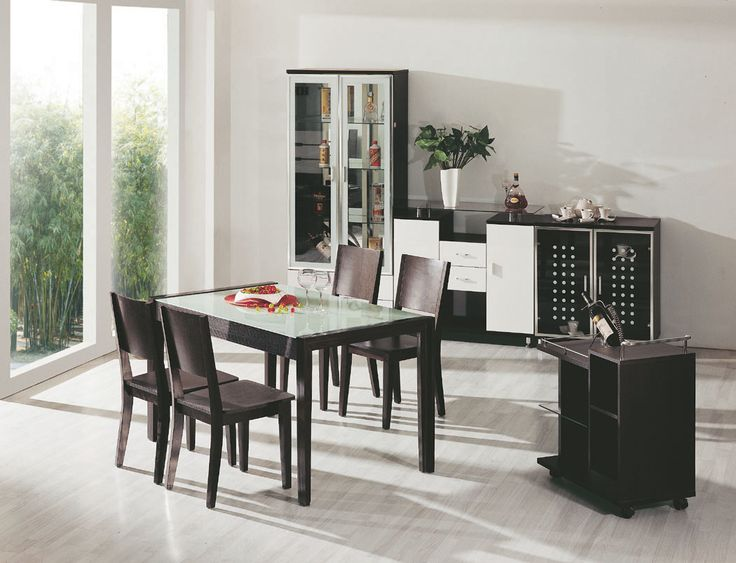 Black And White Dining Room Set Part - 31: Fresh Laminated Floor And Black Dining Set And Furniture And White Wall  Paint Color