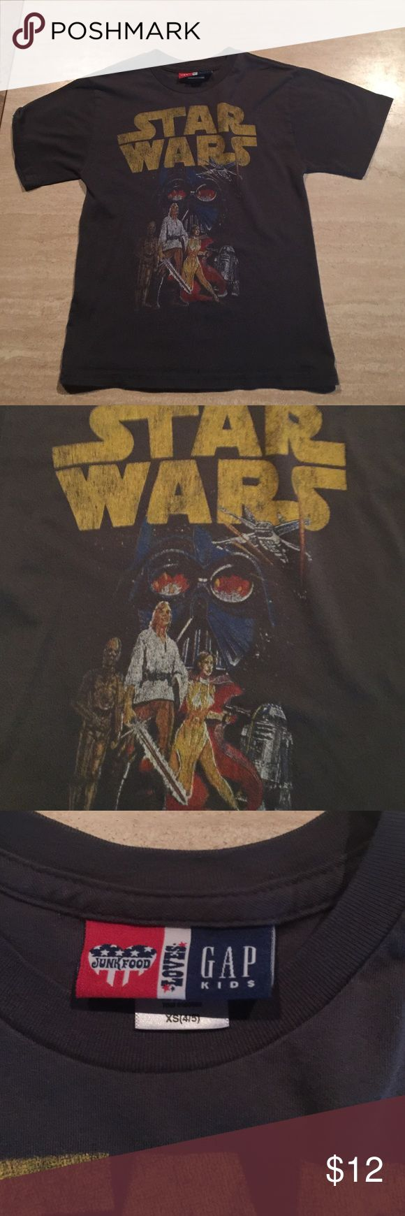 VGUC Junk Food for Gap Kids Star Wars Tee XS 4/5 Very Good used condition. Junk Food Short Sleeve Star wars Tee. XS 4/5. No stains or holes. Slight signs of wash and wear.  Thanks for looking. Please take a peek at my other items for sale. I appreciate the shares. Bundle and save!!!! Junk Food Shirts & Tops Tees - Short Sleeve