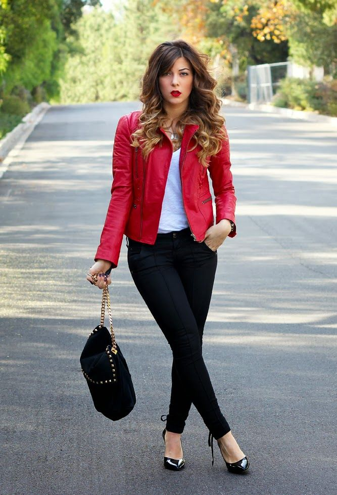 Red leather with wax coated jeans. Styled with BCBG pumps @Dani W Designer Shoe Warehouse #dswshoehookup