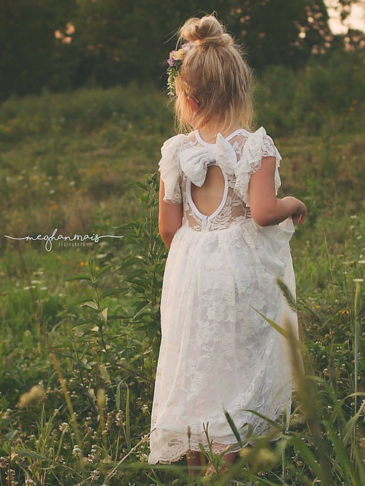 White Lace Boho Rustic Flower Girl Dress