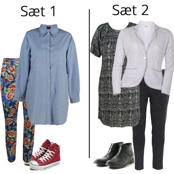 Inspiration med tøj i store størrelser - samme kvinde, forskelligt humør