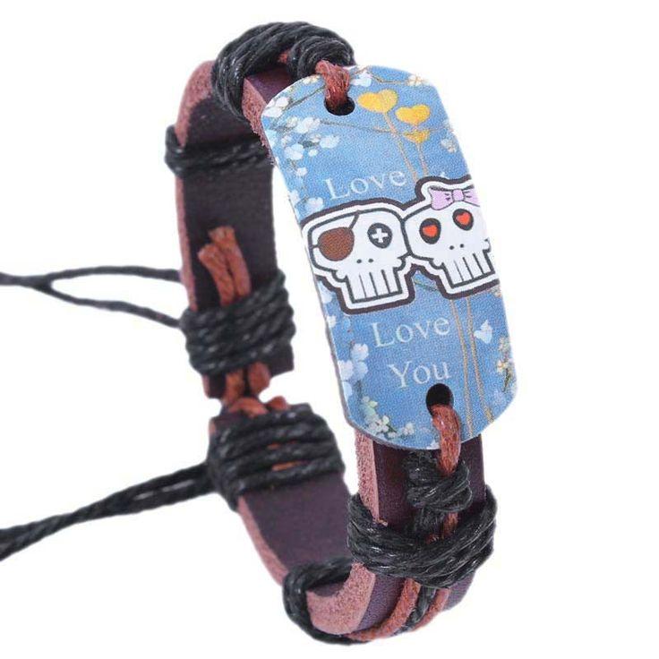 Дешевое Мода хип хоп прекрасный с бантом одноместный двойной черепа ткать кожи человека браслет B673, Купить Качество Цепи и браслеты непосредственно из китайских фирмах-поставщиках:                                        Примечание