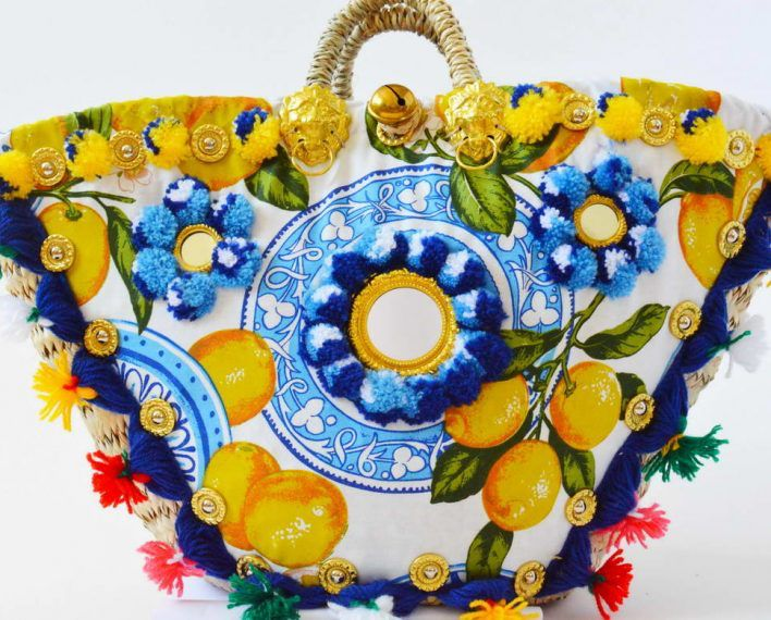 Limoncello tile Sicily Bag Limited Edition Summer 2016 Coffa, strawbag shop at sicilybag.com