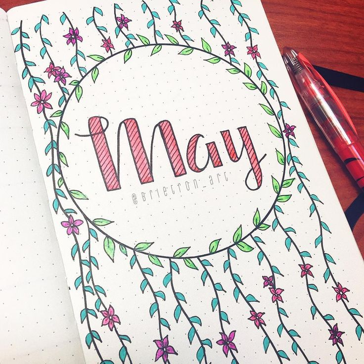 Working on the month of May in my bullet journal. . . . #bulletjournal #bulletjournaling #art #may #itsgonnabemay #mayflowers #flowers #spring #brietron_art #drawing #sketch #design #font