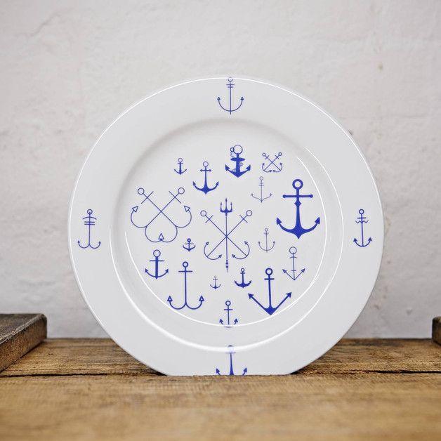 Teller mit maritimen Ankern bedruckt / maritime plate, anchor by Ahoi Marie via DaWanda.com