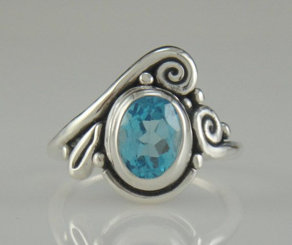 Sterling Silver Blue Topaz Ring- One of a Kind