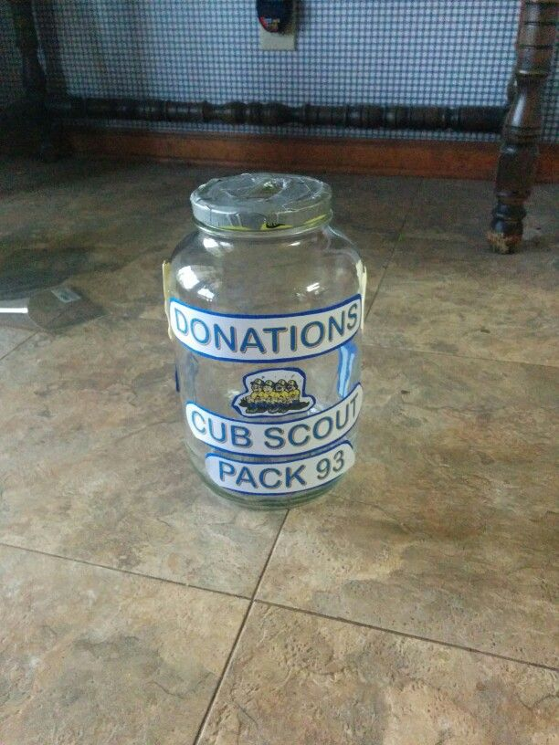 Donation jar to have setting out at point of sale popcorn sale, scouting for food, point of sale camp card sales, etc...