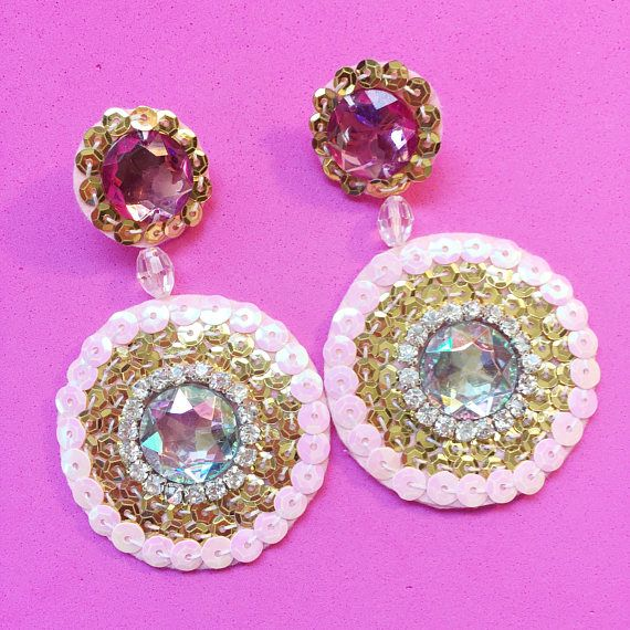 Pink and Gold Sequined Statement Earrings