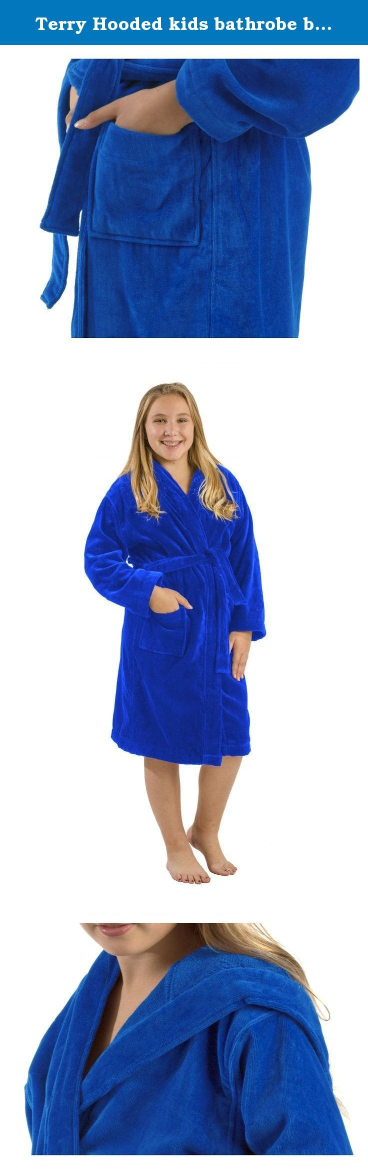 Terry Hooded kids bathrobe bathrobes Royal Blue, Xlarge. TERRY VELOUR COTTON HOODED KIDS BATHROBES -Brand new in the bag -Two patch pockets, double stitch for durability. -These kids robes can be used for bath, spa, shower, swimming pool, lounge or sauna. -100% absorbent Cotton Terrycloth on the Inside & velour cut Terry Cotton on the Outside. -Available Colors: Purple, White, Black,Pink, Fuchsia, Navy, Royal Blue and Red. -It is 400 gsm fabric. -Here is the measurement of the Sizes…