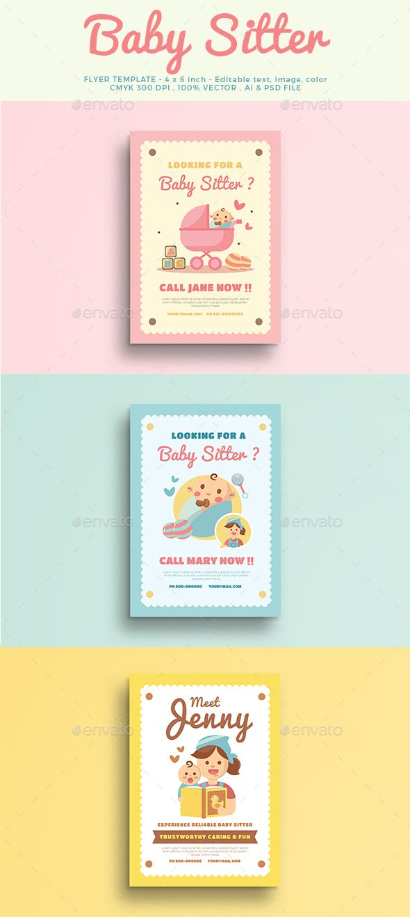 BabySitter Flyer FeaturesAics6 & Psd File A4 Size 100 Vector Free