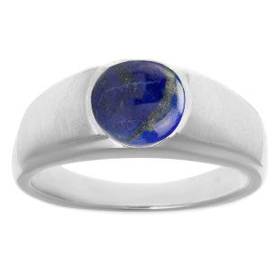 Men's Birthstone Rings - Round Lapis Birthstone Ring In White Gold Gemologica.com offers a unique selection of mens gemstone and birthstone rings crafted in sterling silver and 10K, 14K and 18K yellow, white and rose gold. We have cool styles including wedding and engagement rings, fashion rings, designer rings, simple stone and promise rings. Our complete jewelry collection of gemstone rings for men can be seen here: www.gemologica.com/mens-gemstone-rings-c-28_46_64.html