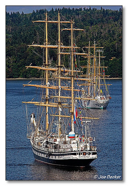 Tall ships harbored at Quartermaster Harbor on Vashon Island, Washington the day before the Tall Ships Festival