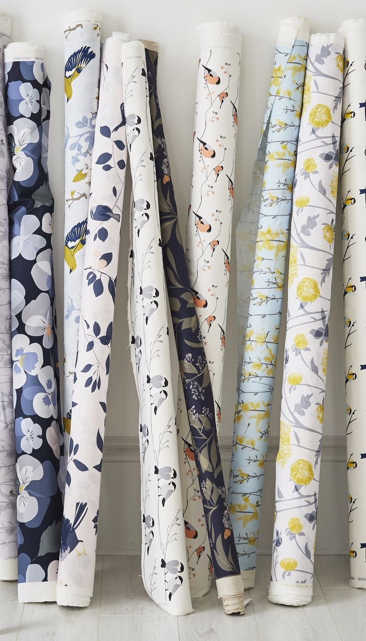 Lorna Syson | Fabric by the Metre. Perfect for upholstery to make curtains, blinds or chairs and sofas. 12 designs inspired wildlife. Available on Lorna Syson's website or in John Lewis stores, free samples on request. Update your interior with fresh florals or colourful birds. Perfect for bedrooms, living rooms and kitchens.