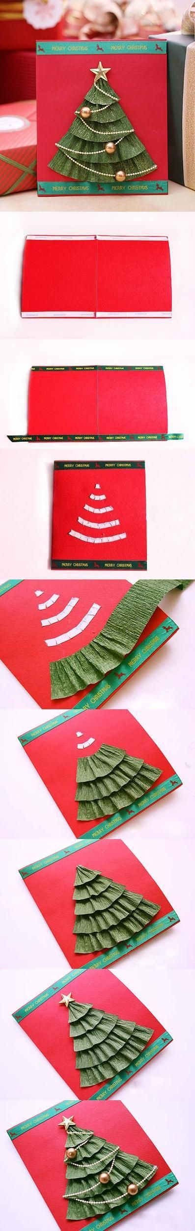 Crape paper Christmas tree... Would be cute on the bulletin board if the kiddos made these next CHRISTmas!