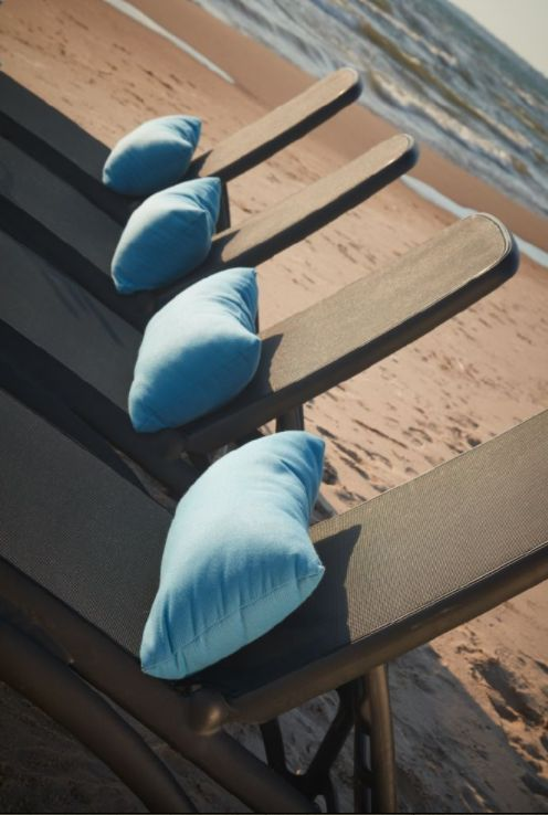 Blue Sunbrella Toss Cushions