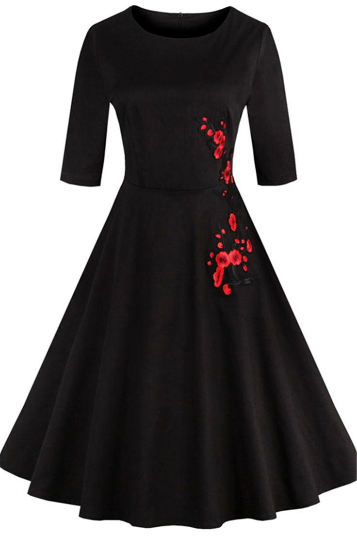 Black dress design - Retro Style High Waist Floral Embroidery Dress Black L