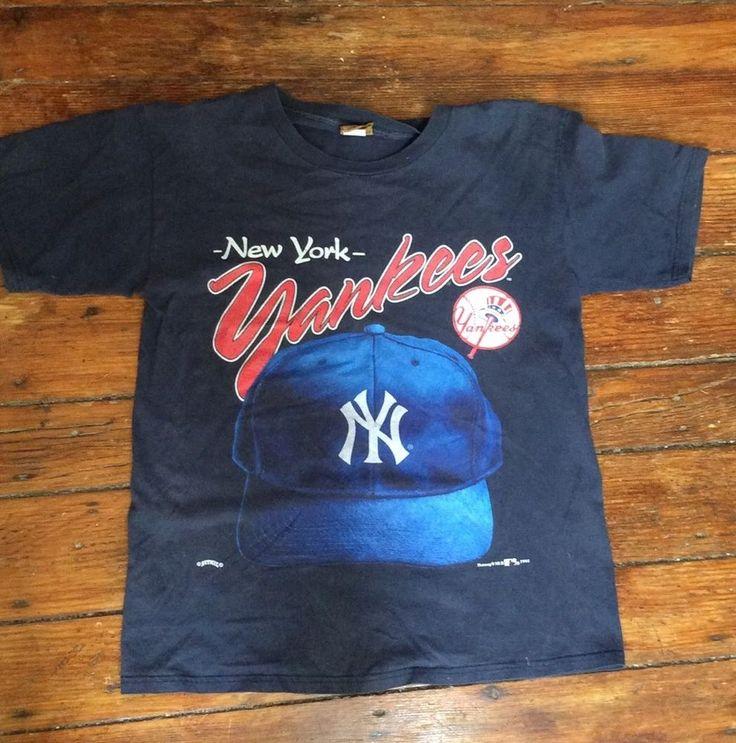 95dbd3f4fe6ce ... coupon code vintage 90s mlb new york yankees baseball hat t shirt  nutmeg mills sz large