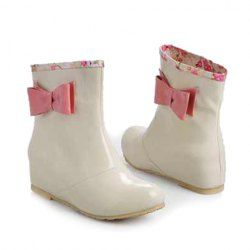 Sweet Women's Rain Boots With Side Bow and Floral Print Design