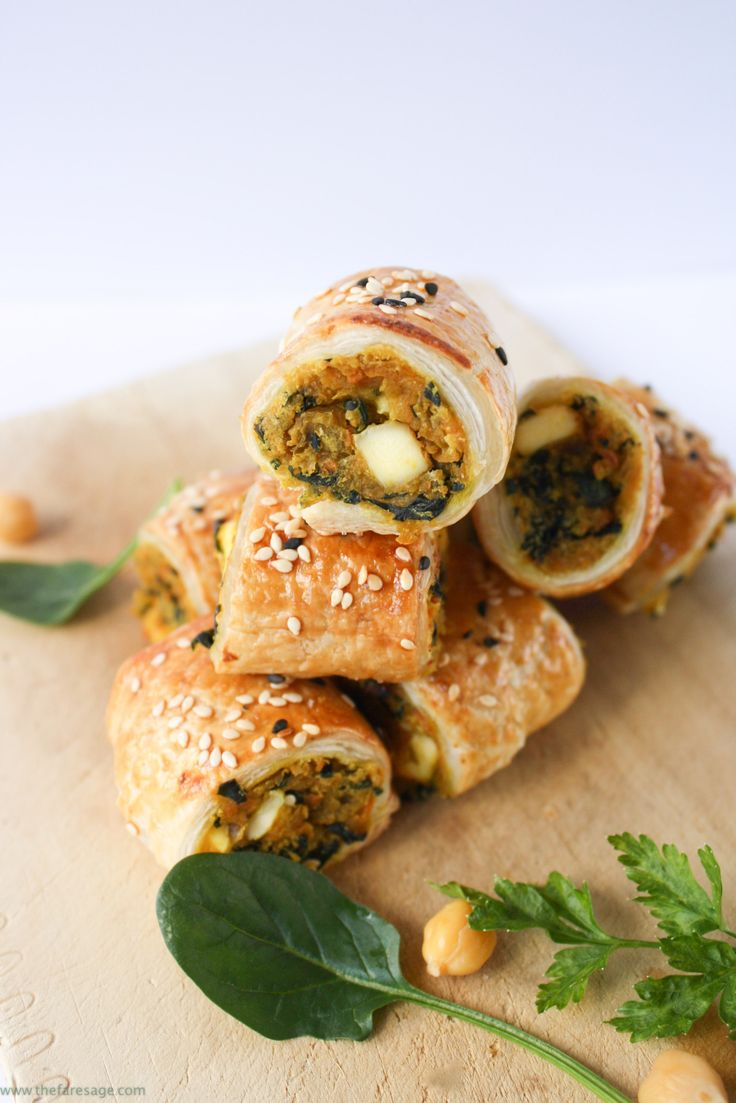 Spinach, chickpea and sweet potato sausage rolls | The Fare Sage [brush w/almond milk not egg]