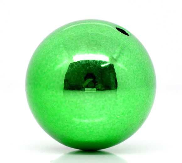 Green Christmas Acrylic Round Beads 20mm, sold per pack of 20