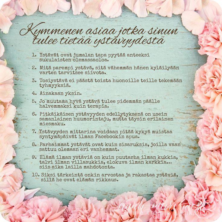 Ystävänpäiväkortti - 10 asiaa ystävyydestä - Signorina