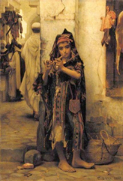 The Little Flutist. Guillaume Charles Brun (1825 – 1908, French)